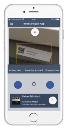 Ansicht Scan-App Inventar-Manager